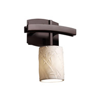 Limoges 1 Light 9 inch Dark Bronze Wall Sconce Wall Light in Banana Leaf, Cylinder with Flat Rim