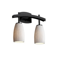 Justice Design Limoges Archway 2-Light Bath Bar in Matte Black POR-8592-28-WFAL-MBLK