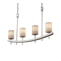 Justice Design Archway 4 Light Chandelier in Brushed Nickel POR-8595-10-WAVE-NCKL