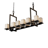 Justice Design Limoges Montana 12-Up & 5-Downlight Bridge Chandelier (Short) in Dark Bronze POR-8620-15-PLET-DBRZ
