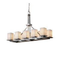 Justice Design Limoges Montana 10-Light Rectangular Ring Chandelier in Brushed Nickel POR-8650-15-WAVE-NCKL