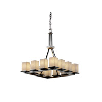 Justice Design POR-8663-15-BMBO-NCKL Limoges 12 Light 29 inch Brushed Nickel Chandelier Ceiling Light in Bamboo photo thumbnail