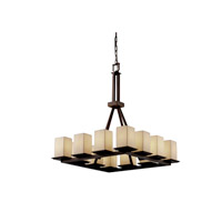 Justice Design Limoges Montana 12-Light Ring Chandelier (Tall) in Dark Bronze POR-8663-15-LEAF-DBRZ