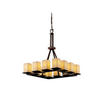 Justice Design Limoges Montana 12-Light Ring Chandelier (Tall) in Dark Bronze POR-8663-15-WAVE-DBRZ
