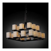 Justice Design Limoges Montana 20-Light 2-Tier Ring Chandelier in Matte Black POR-8667-15-PLET-MBLK