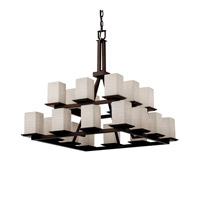 Justice Design Limoges Montana 20-Light 2-Tier Ring Chandelier in Dark Bronze POR-8667-15-WAVE-DBRZ