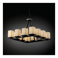 Justice Design Limoges Montana 12-Light Ring Chandelier (Short) in Matte Black POR-8668-15-WFAL-MBLK