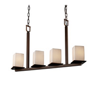 Justice Design Limoges Montana 4-Light Bar Chandelier in Dark Bronze POR-8678-15-WFAL-DBRZ