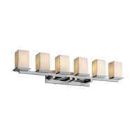 Justice Design POR-8686-15-WFAL-CROM Limoges 6 Light 45 inch Polished Chrome Bath Bar Wall Light in Waterfall photo thumbnail