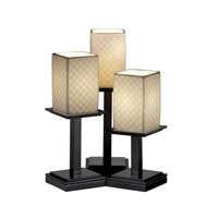 Justice Design Limoges Montana 3-Light Table Lamp in Matte Black POR-8697-15-CHKR-MBLK