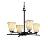 Limoges 4 Light 23 inch Matte Black Chandelier Ceiling Light in Pleats, Round Flared
