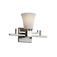 Justice Design POR-8701-20-PLET-NCKL Limoges 1 Light 14 inch Brushed Nickel Wall Sconce Wall Light in Pleats, Round Flared photo thumbnail