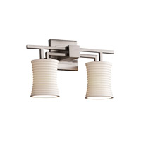 Justice Design Limoges Aero 2-Light Bath Bar in Brushed Nickel POR-8702-60-SAWT-NCKL