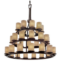 Justice Design Limoges Dakota 36-Light 3-Tier Ring Chandelier in Dark Bronze POR-8712-10-WAVE-DBRZ