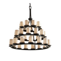Justice Design Limoges Dakota 36-Light 3-Tier Ring Chandelier in Matte Black POR-8712-10-WAVE-MBLK