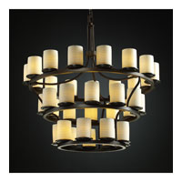 Justice Design Limoges Dakota 36-Light 3-Tier Ring Chandelier (Inverted) in Dark Bronze POR-8713-10-SAWT-DBRZ