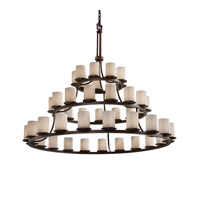 Justice Design Limoges Dakota 45-Light 3-Tier Ring Chandelier in Dark Bronze POR-8714-10-PLET-DBRZ
