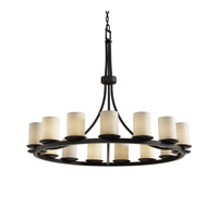 Justice Design Limoges Dakota 15-Light 1-Tier Ring Chandelier in Matte Black POR-8715-10-SAWT-MBLK