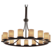 Justice Design Limoges Dakota 15-Light 1-Tier Ring Chandelier in Dark Bronze POR-8715-10-WAVE-DBRZ