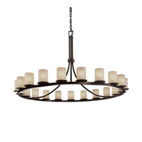 Justice Design Limoges Dakota 21-Light 1-Tier Ring Chandelier in Dark Bronze POR-8716-10-WAVE-DBRZ