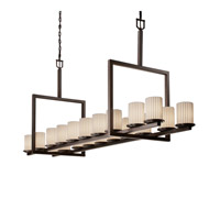 Justice Design Limoges Dakota 20-Light Bridge Chandelier in Dark Bronze POR-8717-10-PLET-DBRZ