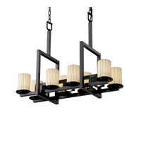 Justice Design Limoges Dakota 8-Up & 3-Downlight Bridge Chandelier in Matte Black POR-8718-10-PLET-MBLK