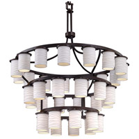 Justice Design POR-8733-10-PLET-DBRZ-LED36-25200 Limoges LED 42 inch Dark Bronze Chandelier Ceiling Light in Pleats, 25200 Lm LED