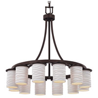 Justice Design POR-8739-10-PLET-MBLK Limoges 12 Light 28 inch Matte Black Chandelier Ceiling Light in Pleats, Incandescent