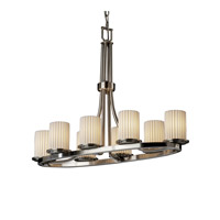 Justice Design Limoges Dakota 8-Light Oval Ring Chandelier in Brushed Nickel POR-8751-10-PLET-NCKL
