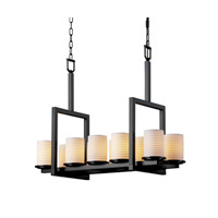 Justice Design Limoges Dakota 10-Light Bridge Chandelier in Matte Black POR-8757-10-SAWT-MBLK