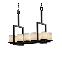 Justice Design Limoges Dakota 10-Light Bridge Chandelier in Matte Black POR-8757-10-WFAL-MBLK