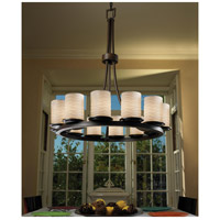Justice Design Dark Bronze Limoges Chandeliers
