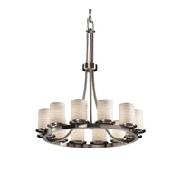 Justice Design Limoges Dakota 12-Light Ring Chandelier (Tall) in Brushed Nickel POR-8763-10-WAVE-NCKL
