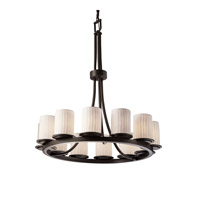 Justice Design Limoges Dakota 12-Light Ring Chandelier (Tall) in Dark Bronze POR-8763-10-WFAL-DBRZ