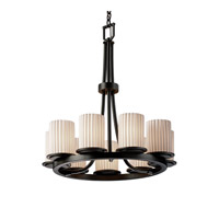 Limoges 9 Light Matte Black Chandelier Ceiling Light in Pleats