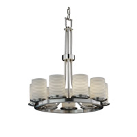 Justice Design Limoges Dakota 9-Light Ring Chandelier in Brushed Nickel POR-8766-10-SAWT-NCKL