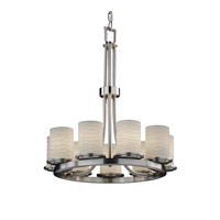 Justice Design Limoges Dakota 9-Light Ring Chandelier in Brushed Nickel POR-8766-10-WAVE-NCKL