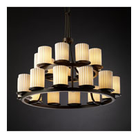 Justice Design Limoges Dakota 21-Light 2-Tier Ring Chandelier in Dark Bronze POR-8767-10-PLET-DBRZ