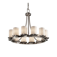 Justice Design Limoges Dakota 12-Light Ring Chandelier (Short) in Brushed Nickel POR-8768-10-WAVE-NCKL