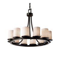 Justice Design Limoges Dakota 12-Light Ring Chandelier (Short) in Matte Black POR-8768-10-WFAL-MBLK