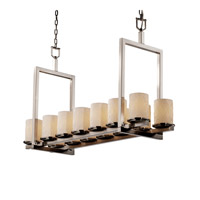 Justice Design Limoges Dakota 14-Light Bridge Chandelier (Short) in Brushed Nickel POR-8769-10-BANL-NCKL