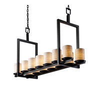 Justice Design Limoges Dakota 14-Light Bridge Chandelier (Short) in Matte Black POR-8769-10-WAVE-MBLK