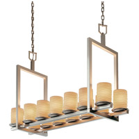 Justice Design Limoges Dakota 14-Light Bridge Chandelier (Short) in Brushed Nickel POR-8769-10-WAVE-NCKL