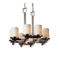 Justice Design Limoges Dakota 8-Light Zig-Zag Chandelier in Brushed Nickel POR-8770-10-CHKR-NCKL