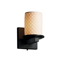 Justice Design Limoges Dakota 1-Light Wall Sconce in Matte Black POR-8771-10-CHKR-MBLK