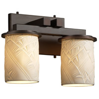 Limoges 2 Light 13 inch Dark Bronze Bath Bar Wall Light in Banana Leaf