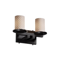 Justice Design Limoges Dakota 2-Light Straight-Bar Bath Bar in Matte Black POR-8772-10-CHKR-MBLK