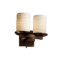 Justice Design Limoges Dakota 2-Light Curved-Bar Wall Sconce in Dark Bronze POR-8775-10-WAVE-DBRZ