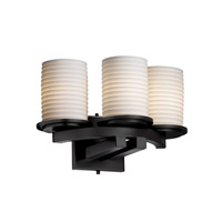Justice Design Limoges Dakota 3-Light Curved-Bar Wall Sconce in Matte Black POR-8776-10-SAWT-MBLK