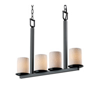 Justice Design Limoges Dakota 4-Light Bar Chandelier in Matte Black POR-8778-10-BMBO-MBLK